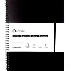Emnotes Single Notebook Without Lines, 8.5 x 11 inches, Unruled Paper, Black Softcover, With Elastic Enclosure