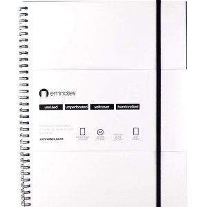 Emnotes Blank Notebook Without Lines, 8.5 x 11 inches, Unruled Paper, White Softcover
