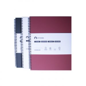 Emnotes 3-Pack, 80 Unruled Blank Sheets, 8.5 x 11 Inches, Softcovers (Black, White, and Burgundy)