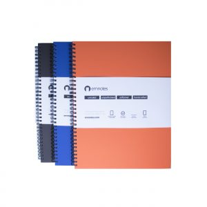 Emnotes 3-Pack, 80 Unruled Blank Sheets, 8.5 x 11 Inches, Softcovers (Brown, Orange, and Blue)